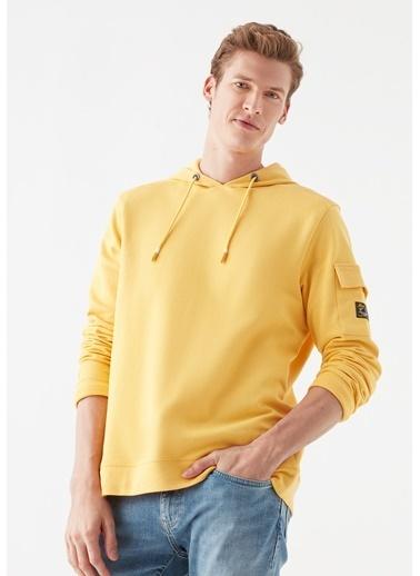 Mavi Kapüşonlu  Sweatshirt Sarı